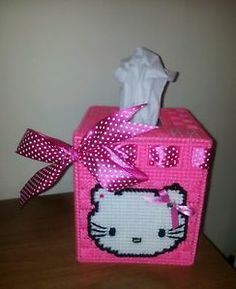 Hello Kitty Plastic Canvas Patterns | Details about Hello kitty tissue box cover in plastic canvas