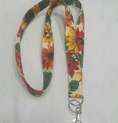 Sunflowers Lanyard / Floral Key Chain / ID Holder Lanyard /