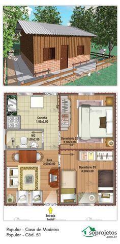 40,45 METROS QUADRADOS. Pequena casa, pode ser de madeira ou alvenaria. Residência de 2 dormitórios. Sala de estar e jantar conjugados. Com cozinha .  Telhado em 2 águas.