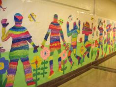 Collaborative Springtime Mural, this is cool! Could do it for graders leaving the elementary school. Group Art Projects, Collaborative Art Projects, School Art Projects, Middle School Art, Art School, Art Bulletin Boards, School Murals, Spring Art, Mural Art