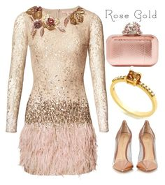"""Anastazio-rose gold"" by anastazio-kotsopoulos ❤ liked on Polyvore featuring Matthew Williamson, Gianvito Rossi and Jimmy Choo"