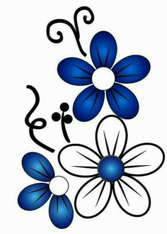 Daisies, butterflies, flowers and more coloring pages for Spring! Hand Embroidery Designs, Embroidery Patterns, Machine Embroidery, Flower Images, Flower Art, Painted Flower Pots, Flower Doodles, Paint Designs, Fabric Painting