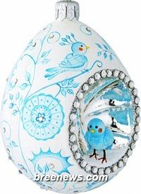 Oeuf Sucre, Chinoiserie, Aquamarine, Patricia Breen (Chinoiserie, Pale aqua, Pearl/white, Reflector, Sculpture Adornment, Turquoise Easter Egg, Decoration, Ornament) (Holidays)