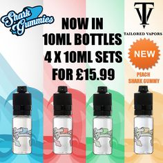 We are happy to reintroduce the TRPR compliant Shark Gummies from Tailored Vapors!  The classic Blue, Red, Green and a brand new Peach flavours are now available in 10ml bottles, sold in packs of 4 containing a single flavour and strength, each pack is retailing at £15.99.