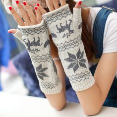 Pair of Warm Printed Half-Finger Gloves For Winter For Women Girl Fashion, Fashion Dresses, Womens Fashion, Cheap Clothes, Clothes For Women, Winter Wonder, Sammy Dress, Online Shopping Stores, All About Fashion
