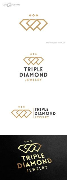 Triple Diamond Jewelry Logo. Wedding Fonts. $35.00