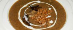 Krémová čočková polévka s houbami