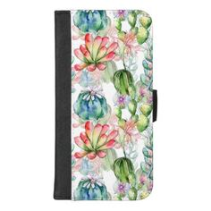 Watercolor Succulents and Cacti iPhone Wallet Case - watercolor gifts style unique ideas diy