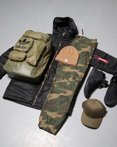 Utility cocktail with pieces from Alpha Industries, adidas Originals, Carhartt and Junkyard XX-XY.