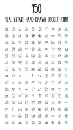 A set of 150 beautiful real estate hand drawn doodle icons!  Whats included?  - 1 AI File  - 1 EPS File  - 1 PDF File  - 1 CSD Fil