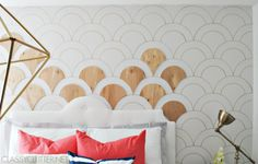 Apply DIY wooden scallops to the wall