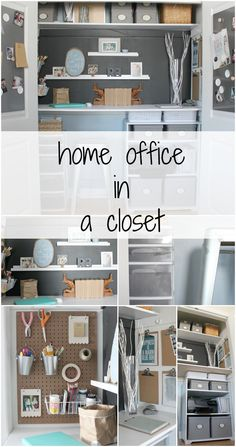 Home office in a closet tour - a ton of organized storage packed into a tiny space used for work and crafts.