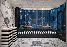 Aquazurra London Boutique from @casadipassadico designs, luxury interiors, marble and black, marble and glass