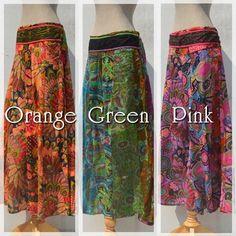 asian hippie bottoms -color Orange n Green n Pink- #naturaleeza #fashion #hippiefashion