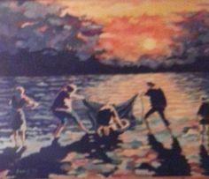 Dim. Cm 70x50 famiglia di pescatori al tramonto