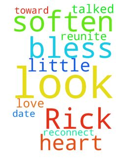Dear Lord, please look after and bless Rick. Soften - Dear Lord, please look after and bless Rick. Soften his heart toward me and please reunite us in love. we talked a little, Lord, please help us to reconnect and date again. In your name I pray, Amen Posted at: https://prayerrequest.com/t/rUu #pray #prayer #request #prayerrequest