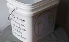 A great way to keep track of your laundry recipe - write it on the side of the bucket:   * 1 1/4 cups vinegar   * 1 cup baking soda   * 1 cup washing soda   * 1 cup borax   * 1/4 cup liquid Castile