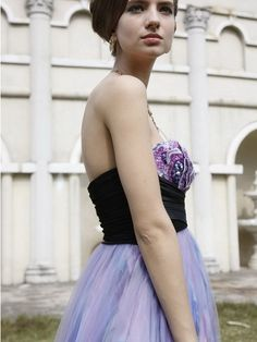 Lavender and Black Strapless Long Prom Evening Dress