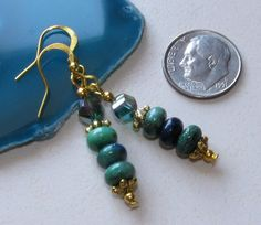 Blue Green Chrysocolla Rondelle Crystal Gold by BusyBeeBumbleBeads
