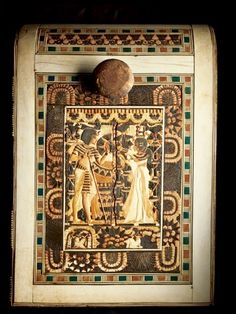 Chest from the tomb of Tutankhamun, depicting him with his wife/half sister, Ankhesenamun.