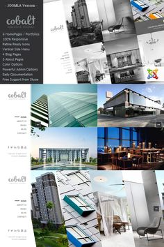 Cobalt is an Responsive Joomla Theme for Architects & Creatives, it has been designed specially in a minimal & simple design concept, to make it easier Creative Architecture, Interior Architecture, Real Estate Templates, Seo Plugin, Landing Page Builder, Joomla Themes, Joomla Templates, Create Website, Simple Designs