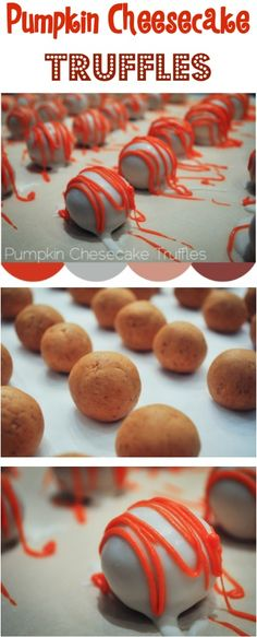 ~ the perfect dessert for your Fall Par… Easy Pumpkin Cheesecake Truffles Recipe! ~ the perfect dessert for your Fall Parties! Cheesecake Truffles Recipe, Truffle Recipe, Recipe 4, Cheesecake Desserts, Raspberry Cheesecake, Pumpkin Recipes, Fall Recipes, Holiday Recipes, Pumpkin Dessert