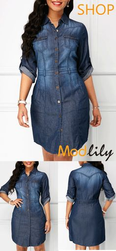 Button Up Roll Tab Sleeve Denim Dress On Sale At Modlily. Fashion And Cheap! c74af3168950