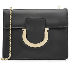 Salvatore Ferragamo Leather Shoulder Bag ($880) ❤ liked on Polyvore featuring bags, handbags, shoulder bags, black, leather purses, structured leather purse, salvatore ferragamo, leather shoulder handbags and genuine leather handbags