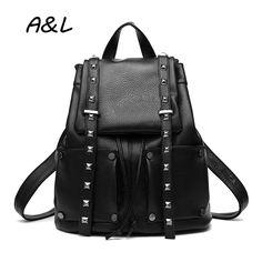 $44.40 (Buy here: https://alitems.com/g/1e8d114494ebda23ff8b16525dc3e8/?i=5&ulp=https%3A%2F%2Fwww.aliexpress.com%2Fitem%2F2016-Women-Backpack-Women-Leather-Rivet-Bag-Lady-Outdoor-Travel-Bag-School-Backpack-for-Teenager-Girls%2F32670926902.html ) 2016 Women Backpack Women Leather Rivet Bag Lady Outdoor Travel Bag School Backpack for Teenager Girls Sac a Main Rucksack A0194 for just $44.40