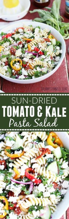 The Best Pasta Salad EVER with sun-dried tomatoes, kale, sweet bell peppers, cucumber and plenty of feta cheese!  Top it with an easy sweet lemon vinaigrette or use your favorite Italian dressing.
