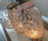 Doily canning jar luminaries