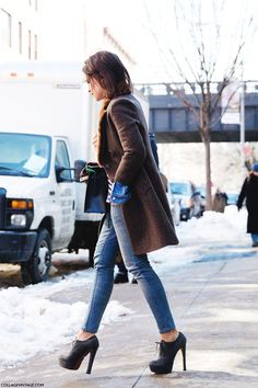 Miroslava Duma Street Style At New York Fashion Week