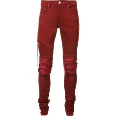 Amiri distressed skinny jeans ($1,240) ❤ liked on Polyvore featuring men's fashion, men's clothing, men's jeans, red, mens ripped jeans, mens destroyed jeans, mens red skinny jeans, mens torn jeans and mens ripped skinny jeans