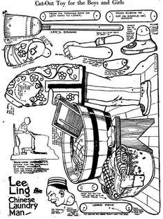 Brinquedos Autômatos - Automata toys - Bastelbögen Mechanischen - Juguetes autómatas - Karakuri: Lavador