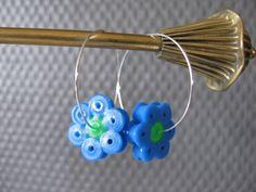 Fine blomster creoler - Earrings hama perler by Moster G.