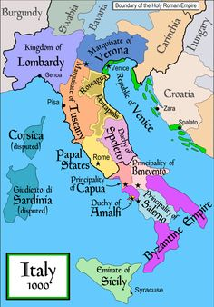 Italy around the turn of the millennium, showing the Lombard states in the south on the eve of the arrival of the Normans.