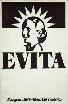 """Milwaukee, WI premiere of """"Evita"""" at Uihlein Hall of the Marcus Center, which is located at 929 N. Water Street ... Third National Tour ... August 24 - September 5, 1982 ... Production Design and Costume Design by Timothy O'Brien and Tazeena Firth ... Music by Andrew Lloyd Webber ... Lyrics by Tim Rice ... Directed by Harold Prince ... Tim Bowman, Florence Lacey, and John Leslie Wolfe starred in the production."""