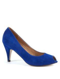 Midnight Blue Peep Toe Heels £15.99