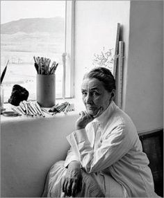 Photograph of Georgia O'Keeffe in her Ghost Ranch studio by John Loengard.