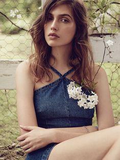 Holly Ryan Denim Romper in Chambray Blue, stylist's own Locket Bracelet