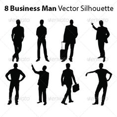8 #Business Man Vector Silhouette - #silhouettes #people #characters #isolated #illustration #vector #template