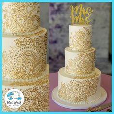 white and gold henna wedding cake nj Henna Wedding Cake, Birch Wedding Cakes, Henna Cake, Indian Wedding Cakes, Wedding Cakes With Cupcakes, Wedding Cakes With Flowers, Beautiful Wedding Cakes, Gorgeous Cakes, Cake Flowers