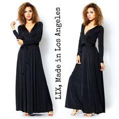 Maris Solid Black Boho Long Sleeve Surplice Maxi Wrap Dress L A Made $79 00   eBay