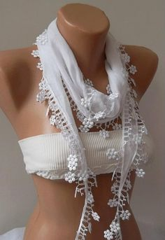White and Elegance Shawl / Scarf with Lacy Edge by womann on Etsy, $13.90.  I want one of these!