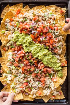 Asian Tuna Melt Nachos - a delicious no-mayo tuna salad atop crunchy homemade tortilla chips. An easy, healthy 30-minute appetizer! | healthynibblesandbits.com