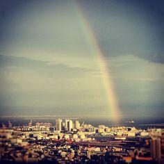 今日の虹。ちょっとわかりにくいけど…  #虹 #rainbow #神戸 #kobe - @haru_kim- #webstagram