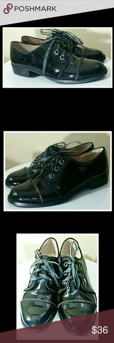 NWOT   Black tap style shoe .....size 7 Patent leather look with zipper accent. Chinese Laundry Shoes Flats & Loafers