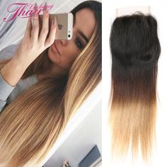 Top 8a Brazilian Straight Virgin Hair And Closure Unprocessed 4x4 Inch Blonde Ombre Straight Lace Closure Human Hair 1b 4 27 30