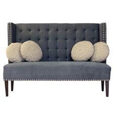 Nydelig dining sofa med høy rygg i mørk blågrå tone. www.krogh-design.no/shop/dining-sofa