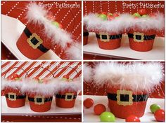 Santa pails party favor - would be good to use sand pails (buy on sale at end of season) Christmas Party Favors, Christmas Gift Wrapping, Christmas Crafts For Kids, Diy Christmas Gifts, Christmas Projects, All Things Christmas, Winter Christmas, Holiday Crafts, Holiday Fun